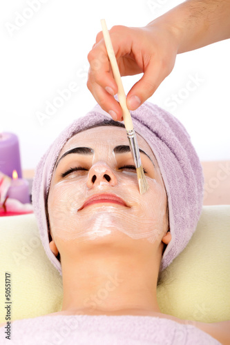 Receiving Facial Mask At Spa