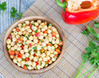 Chickpea salad and bell pepper