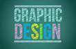 chalk board with graphic design written
