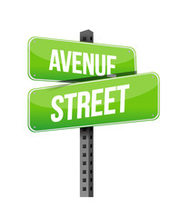 avenue and street road sign