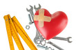 Heart and tools. Concept: Renovation of heart. Isolated on