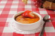 Creme brulee with strawberries