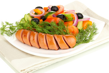 Grilled sausage with fresh salad close up