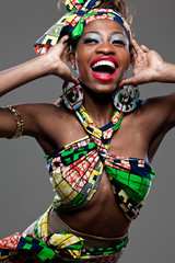 Young beautiful African fashion model.