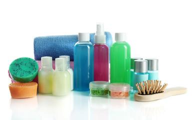 Hotel cosmetics kit isolated on white