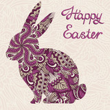 Cute ornamental Easter rabbit. Vector background