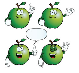 Collection of smiling apples with various gestures.