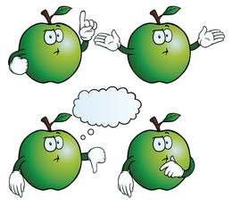 Collection of thinking apples with various gestures.