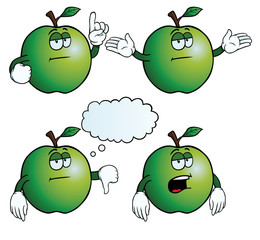 Collection of bored apples with various gestures.