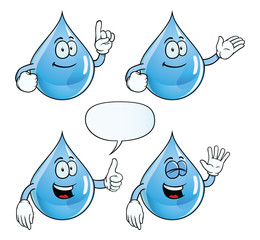 Collection of smiling water drops with various gestures.