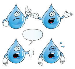 Collection of crying water drops with various gestures.