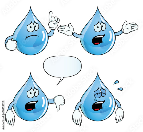 Collection of crying water drops with various gestures. © Colin Cramm