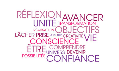Nuage de mots coaching violet