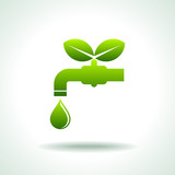green Icon save environment and water concept