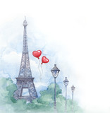 Watercolor background with illustration of eiffel tower