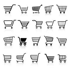 Warenkorb Einkaufswagen Web Icon Button Set