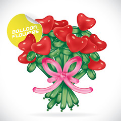 Glossy Balloon Valentines Day Flowers Illustration, Icons