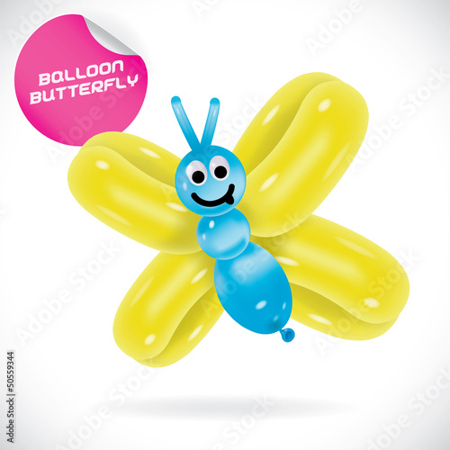 Glossy Balloon Butterfly Illustration, Icons, Sign, Symbol