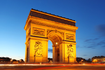 Famous Arc de Triomphe in the evening, Paris, France