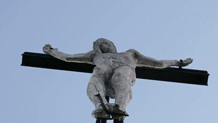 Statue of Jesus Christ below view slow pan in