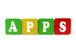 apps - isolated text in wooden building blocks