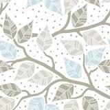 błękitne brązowe liście na gałęziach nieskończony deseń