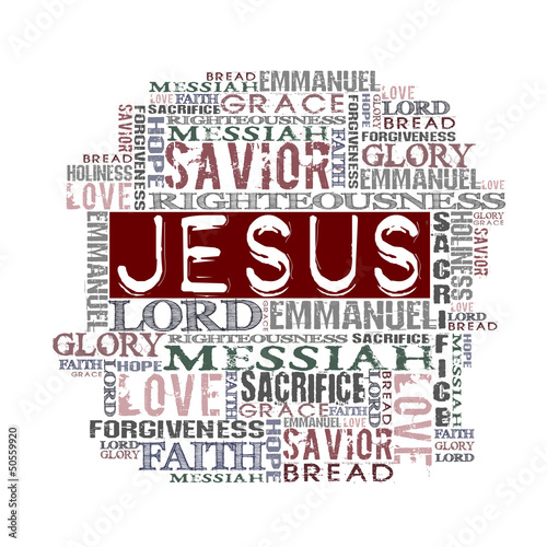 Jesus Religious Words isolated on white