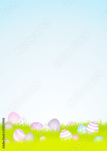 16 Pastel Easter Eggs Meadow Background Sky DIN A4