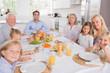 Family sitting for dinner