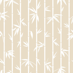 Seamless Pattern White Bamboo Beige Background