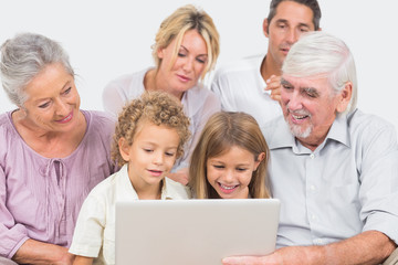 Joyful family watching a laptop screen together