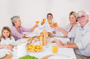 Family raising their glasses