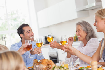 Family raising their glasses at thanksgiving dinner