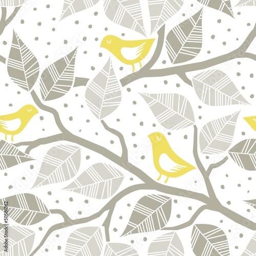 zolte-ptaki-brazowe-liscie-na-galeziach-nieskonczony-desen