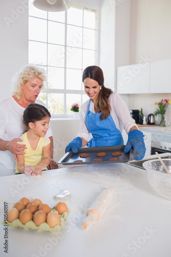 Girl looking at home-made cookies
