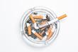 Overhead of burning cigarette in ashtray