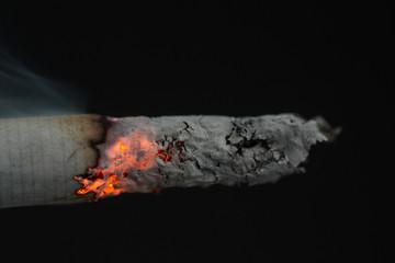 Close up of burning cigarette