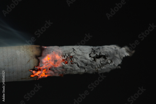 Close up of burning cigarette