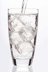 Close up on sparkling water filling a glass
