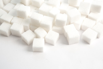 Sugar lumps stacked