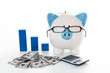 Piggy bank wearing glasses with dollars calculator and blue grap