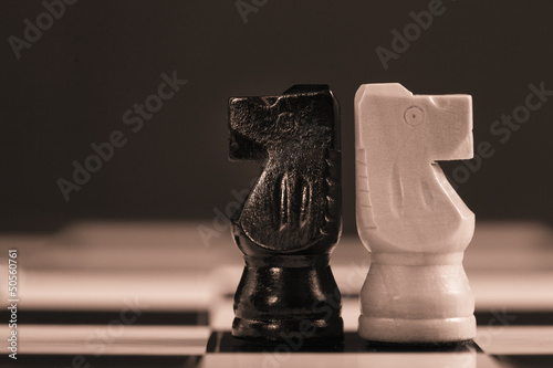 Two chess knights facing away from each other