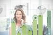 Blonde businesswoman using green chart interface