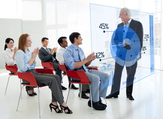 Business people clapping stakeholder standing in front of blue p
