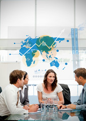 Business workers using blue map diagram interface