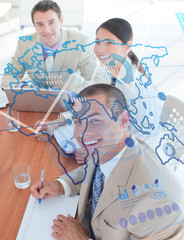 Overview of cheerful colleagues looking at blue map interface