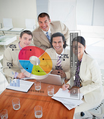 Overview of happy colleagues using colorful pie chart interface