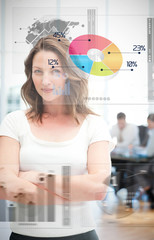 Confident businesswoman using different chart interfaces