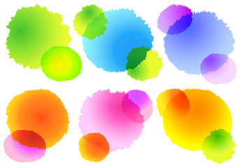 colorful watercolor splashes, vector