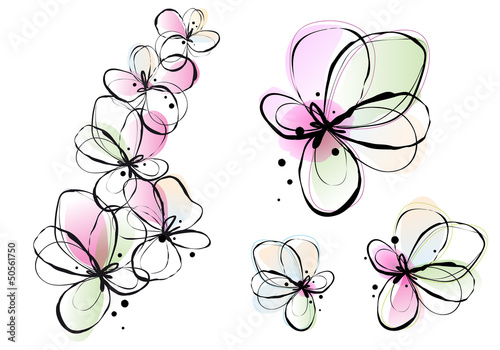 Tuinposter Abstract bloemen abstract watercolor flowers, vector